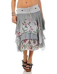 ZARMEXX Mujer Earing roca hasta la rodilla Falda de verano Estilo de capas Estampado de flores