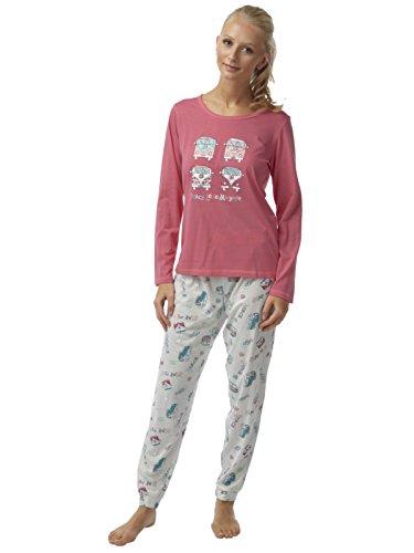 Dames: Campa Van Jersey Pyjama sertie de Placement impression taille 38 à 48 Corail