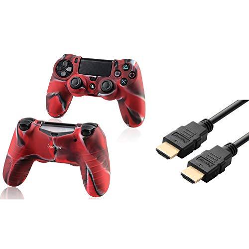 Insten Tarnung Navy Red Silikon Skin mit FREE 6FT / 1.8M Schwarz High Speed ??HDMI-Kabel M / M kompatibel mit Sony PlayStation 4 (PS4) Regler -