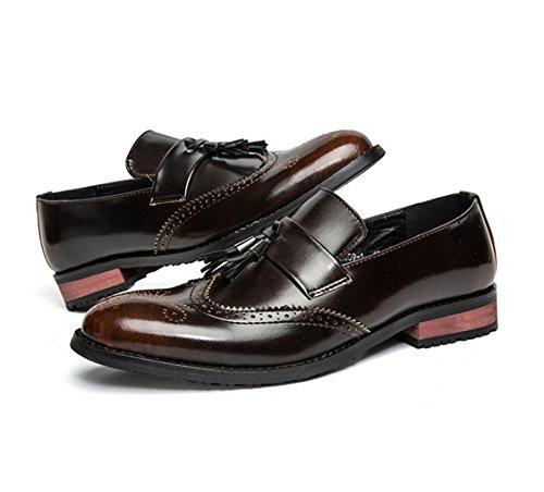 HYLM Bullock scarpe casual di business estate scarpe da sposa traspirante da uomo in pelle intagliata Yellow