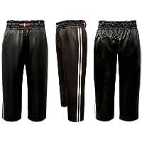 V.Sports Black Kickboxing Trousers Training Pants Black with 2 white stripes satin pants Kids and adults