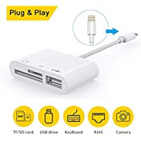 SD Card Reader, 3 in 1 Lightning to USB Camera Connection Kit Memory Card SD/TF Card Reader, Trail Game Camera SD Card Reader,card reader for iPhone and iPad series