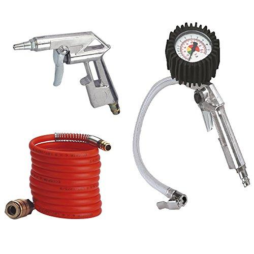 Einhell Druckluft Set, 3-teilig (4 m Spiralschlauch, Reifenfüllmesser, Ausblaspistole) - 2