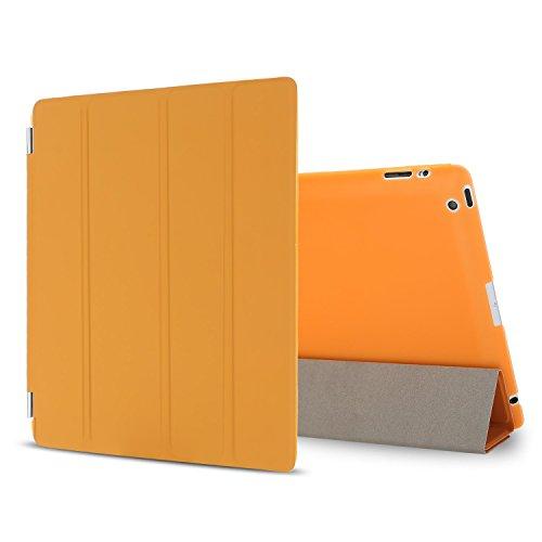 Besdata iPad 2 3 4 Hülle Smart Cover Schutz Case Leder Tasche Etui für Apple iPad Ständer Sleep Wake mit Displayschutzfolie Reinigungstuch Stift Orange
