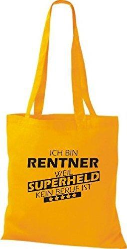 Shirtstown Stoffbeutel Ich bin Rentner, weil Superheld kein Beruf ist goldgelb