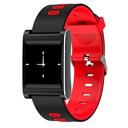 VBNM Neuer Intelligenter Farbbildschirm Blutdruck Herzfrequenz Überwachung Schlaf Sitzende Erinnerung Sport Schrittzähler Wasserdichtes Armband,Red