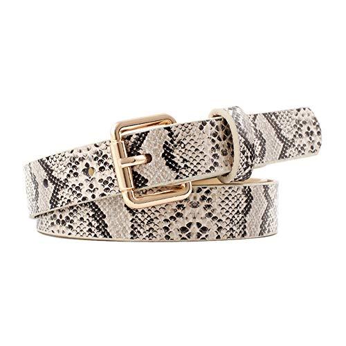 De Las Mujeres Flacas Cinturones De Piel De Serpiente En Relieve PU Correa De Cuero De Vestido De La Cintura con Hebilla