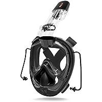 Wenquan,Máscara de Snorkel de una Pieza de Gas de Segunda generación(Color:Negro)