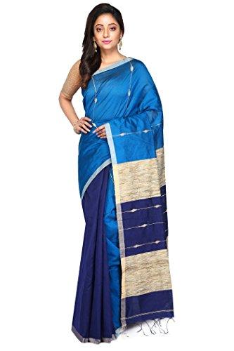 Badal Textile Blue Handloom Cotton Tant Silk Saree, Traditional Bengali Wear