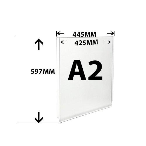 Vertical bolsillo de fácil acceso Póster vertical de soporte para los sistemas de cuerda de alambre cable de acrílico bolsillo para pantallas (A2)