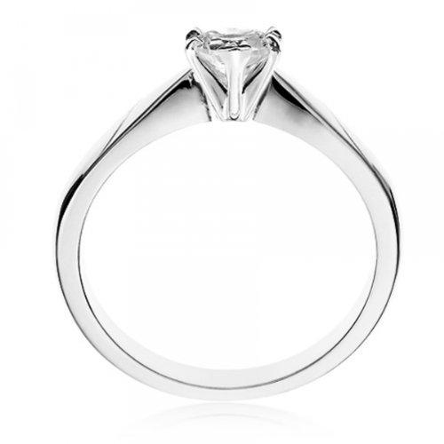 Diamond Manufacturers, Damen, Verlobungsring mit 0.25 Karat E/VVS1 feinem und zertifiziertem Herzdiamant in 18k Weißgold, Gr. 41 - 3