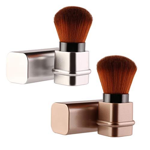 B Baosity 2 Stück Einziehbar Makeup Puderpinsel, Rund Weich Schminkpinsel Gesichtpinsel Foundation...