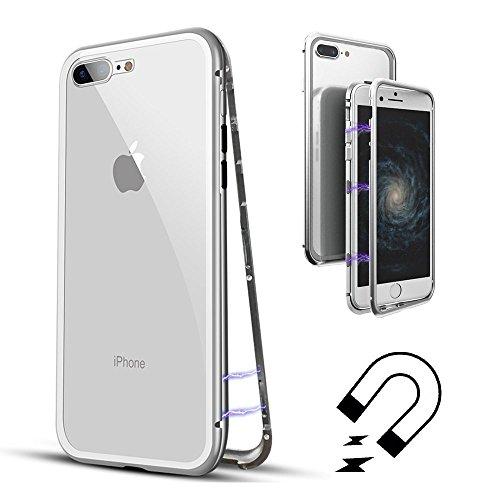 QLTYPRI iPhone 6 6S Hülle, Magnetische Adsorption Metall Handyhülle Aluminium Frame Transparent 9H Hartglas Rücken Keine Schutzfolie [Unterstützt Kabellose Aufladen] für iPhone 6 6S - Klar Weiß