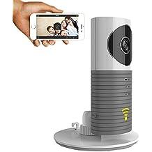 clever dog Sicurezza senza fili WiFi Telecamere/videocamera di sicurezza di sorveglianza con il P2P visione notturna, registrazione video, audio a due vie (Grigio)