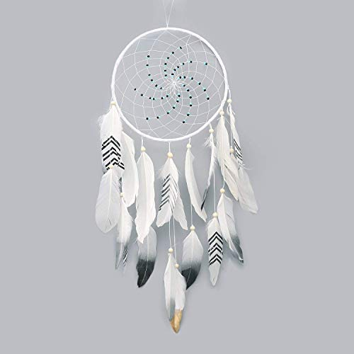 Capteur de Rêves—IMMIGOO Attrape-rêves Plumes Décoration Maison Murale Intérieure Ornement Suspendue Cadeaux Fille Blanc