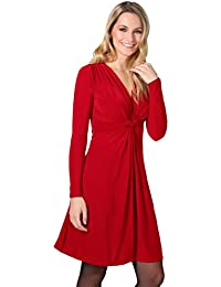 KRISP® Damen Knoten Kleid Langarm Gerafft Gebunden