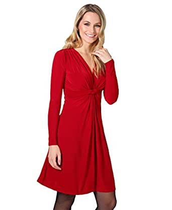 9878-DK/RED-08: Ruched Drape Stretch Front Twist Knot Shift Mini Dress Tie Belted Party Work