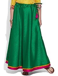 Very Me Women's Designer Green Faux Silk Solid Plain Skirt