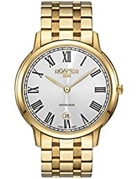 Roamer Men's Quartz Watch with Silver Dial Analogue Display and Gold Stainless Steel Bracelet 515810 48 22 50