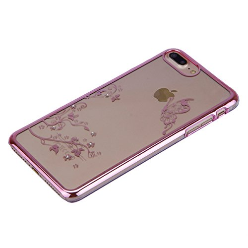 iPhone 7 Plus Hülle,iPhone 7 Plus Case,iPhone 7 Plus Bling Tasche - Felfy Ultra Ultra Dünn Transparent Luxus PC Plastic Kunststoff Tasche Bling Strass Schutz Schutzhülle Case Hülle Tasche Diamant Löwe Schmetterling Rosa