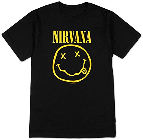 Nirvana Smile Rock Negro Adulto Camiseta tee - Negro -