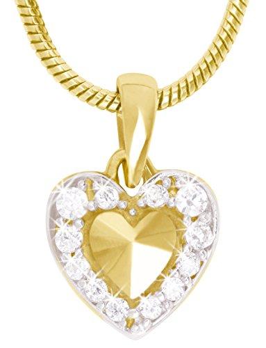 MyGold Herz Anhänger (Ohne Kette) Gelbgold 333/750 Gold (8/18 Karat) Bicolor Mit Stein Zirkonia 9mm x 12mm Herzform Herzchen Mini Glanz Goldanhänger Goldherz Geschenke Für