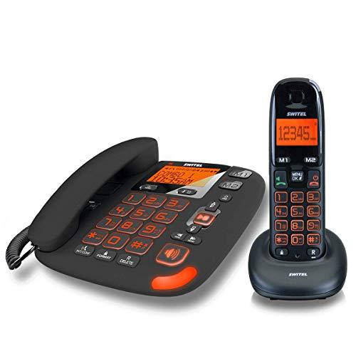 Kit Festnetztelefon + Cordless für ältere mit Anrufbeantworter Tasten XL große großes Display Volumen Verstärkt 30dB Klingelton Verstärker 80dB Lautstärke hoch Kompatibel Hörgeräte Hac Hörgeschädigte visuelle SIGNALLING Freisprecheinrichtung Anruf