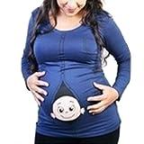 Q.KIM Witzige Umstandsmode Shirt langarm lustiges Shirt wächst mit dem Bauch Stretch Tshirt-Baby, Blau L