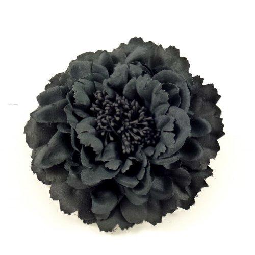 rougecaramel - Accessoires cheveux - Broche fleur / pince cheveux mariage 11cm - noir