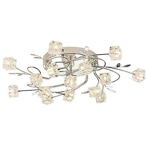 Moderne Stilvolle Leuchten Deckenstrahler, Decken-leuchte, Wohnzimmerlampe,Square Glas Lampenschirm, Leaf Dekoration