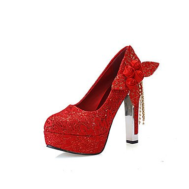 RTRY Donna Scarpe Matrimonio Imitazione Perla Applique Rosso Tacchi Nuziale Round Toe Platform 4.73 Pollice Tacchi Us7.5 Rubino / Eu38 / Uk5.5 / Cn38 US7.5 / EU38 / UK5.5 / CN38