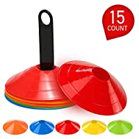 Fanryy Agility Disc Cone Set,15Pcs Agility Disc Cone Set Multi Sport Training Space Cones With Plastic Stand Holder for Soccer Football Ball Game Disc Mini Training Cones Field Markers