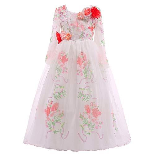 ELSA & ANNA® Mädchen Prinzessin Kleid Belle Kleid Verrücktes Kleid Partei Kostüm Outfit DE-BEL01 (5-6 Jahre, Weiß)