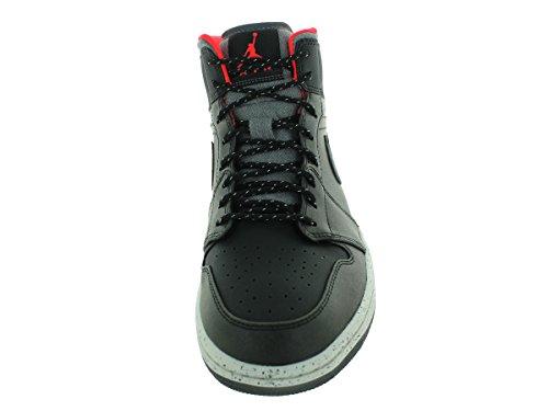 Nike Air Jordan 1 Mid, Chaussures de Sport Homme, Noir (Schwarz), Taille Multicolore - Negro / Gris / Blanco / Rojo (Blk / Drk Gry-Lght Bn-Infrrd 23)