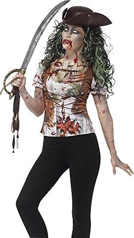 Smiffy's 45565L - Damen Zombie Piraten Huren T-Shirt, Größe: 44-46, grün