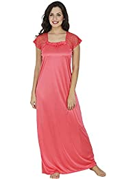 Klamotten Peach Satin Long Nighty