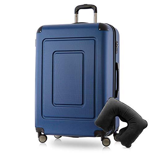 Happy Trolley - Lugano Hartschalen-Koffer Koffer Trolley Rollkoffer Reisekoffer Lugano, sehr leicht + stabil, TSA, 76 cm, 113 Liter, Dunkelblau +Nackenkissen -