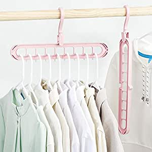 Quifinity Wardrobe Space Saver Folding Hangers,Hangers for Clothes Wardrobe, Closet Organiser, Anti-Skid Plastic Magic Clothes Hanger - 360º Swivel Hook Clothes Hanger, Organiser Hanger