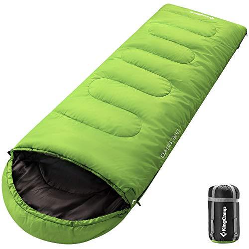 KingCamp Oasis Saco de Dormir de 3 Estaciones 4 Tamaños Disponibles (Niño, Adulto, Extragrande y Doble Extragrande) en 6 Colores (Adulto 220 x 75cm 4 Temporada, Verde L)