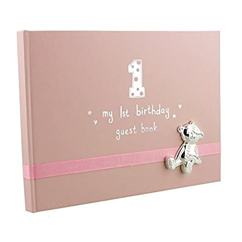 Button Corner My 1st Birthday Pink Girls First Birthday Guest Book with metal teddy icon
