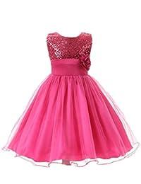 M2C Niñas Vestido Princesa de Fiesta de Gasa y Lentejuelas con Flores sin Manga
