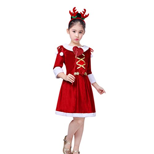 (Longra Baby Kinder Mädchen Kleidung Festlich Weihnachten Kleid Weihnachtskostüm Weihnachtskleid + Weihnachts Stirnband + Ornament Mädchen Cosplay Karneval Party Kleid (Red, 150CM 8Jahre))