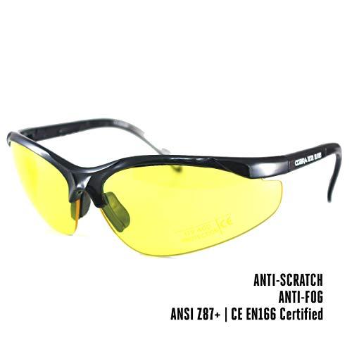 Cobra Taktische Airsoft Brille   Antibeschlag- und Kratzschutz Schießbrille   Schutzbrille   Arbeits- und Ballistikgläser mit schwarzem Rahmen, gelber Brille und verstellbaren Bügeln