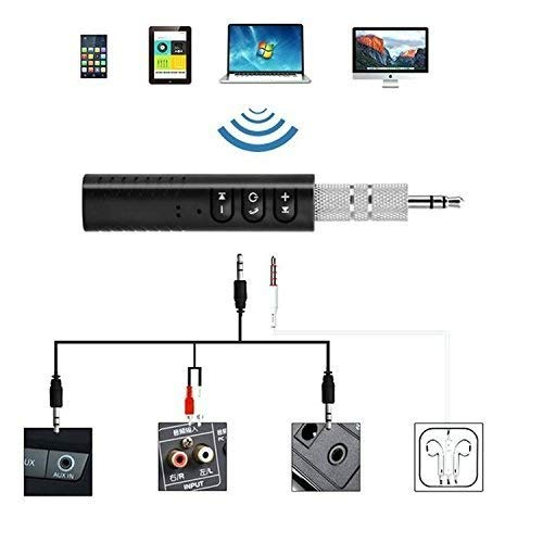 Azacus 3.5mm Jack Bluetooth V4.1 Hands Free Music Audio Receiver Adapter AUX Kit Compatible with All Android and iOS Devices {Assorted Colour}