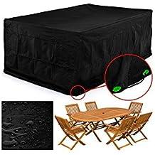 FEMOR Abdeckung Gartenmöbel, Schutzhülle Gartenmöbel und Abdeckplane für rechteckige Sitzgarnituren, Gartentische und Möbelsets (300*250*90cm)