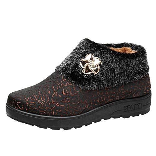 LILIHOT Frauen Schnee lädt warme beiläufige Schuh Baumwollschuh Blumenrhinestone Stiefeletten auf Damen Stiefeletten Schlupfstiefel Übergrößen Warm Gefüttert -