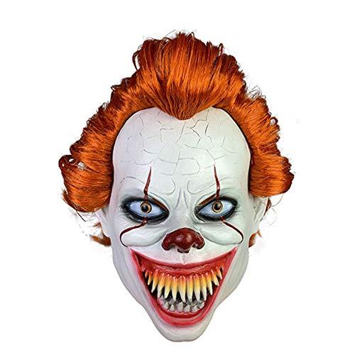 Clown Mörder Kostüm Männer - WHL.LL Halloween Unheimlich Mörder Maske, Erwachsene Cosplay Kostüm Grusel Clown Masken, Joker Dämon Latex Maske,C