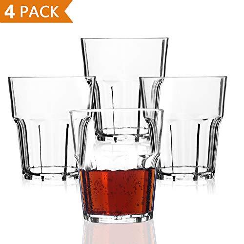 PEMOTech Wasserglas, 9 OZ bruchsicher stapelbar Restaurant-Qualität Premium Acryl Kunststoff Wasser Bier Whiskey Wein Saft Becher Set Trinkbecher, BPA-frei und spülmaschinenfest