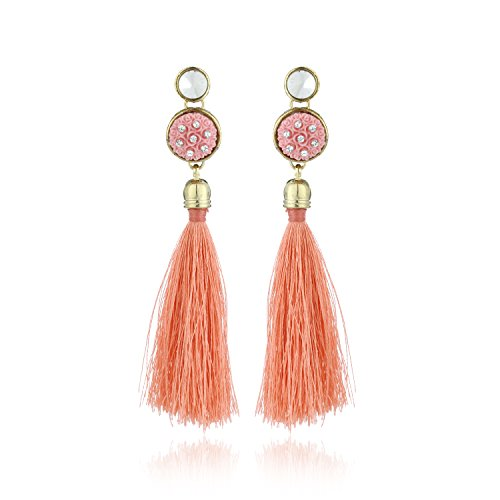 Fasherati Peach Acrylic Floral Top And Long Silk Tassel Earrings For Women -