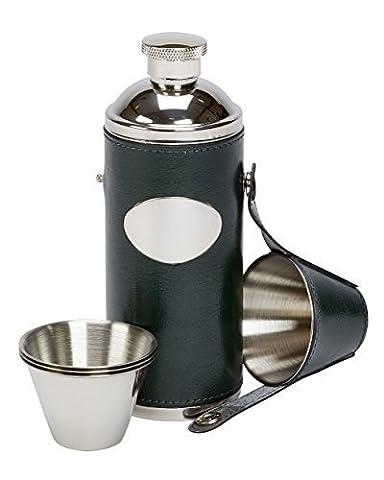 236,6 ml de course cuir vert hunting fiole de hanche avec 4 tasses & gratuit cheminée (3380)